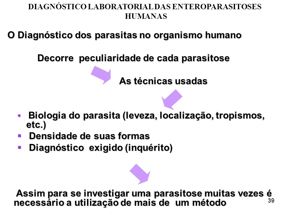 DIAGNÓSTICO LABORATORIAL DAS ENTEROPARASITOSES