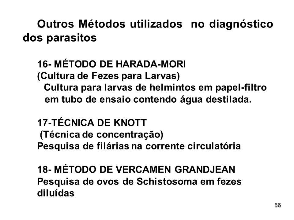 Outros Métodos utilizados no diagnóstico dos parasitos