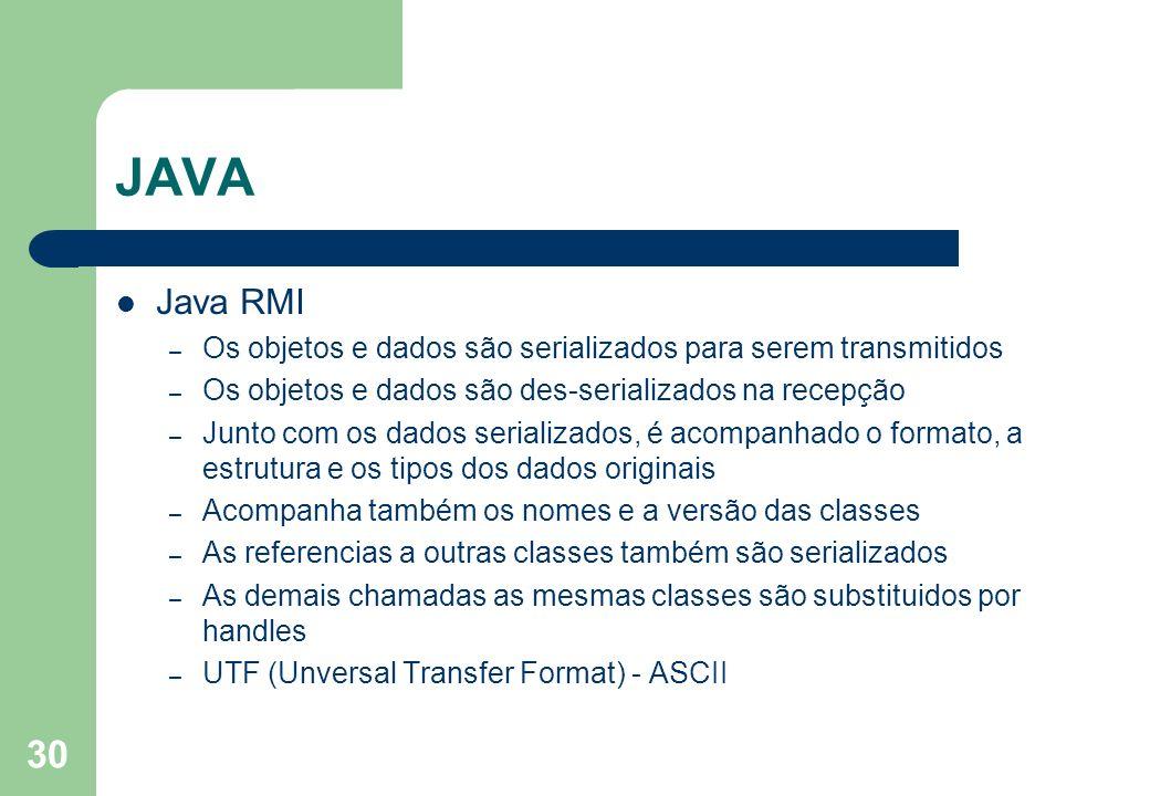JAVA Java RMI. Os objetos e dados são serializados para serem transmitidos. Os objetos e dados são des-serializados na recepção.