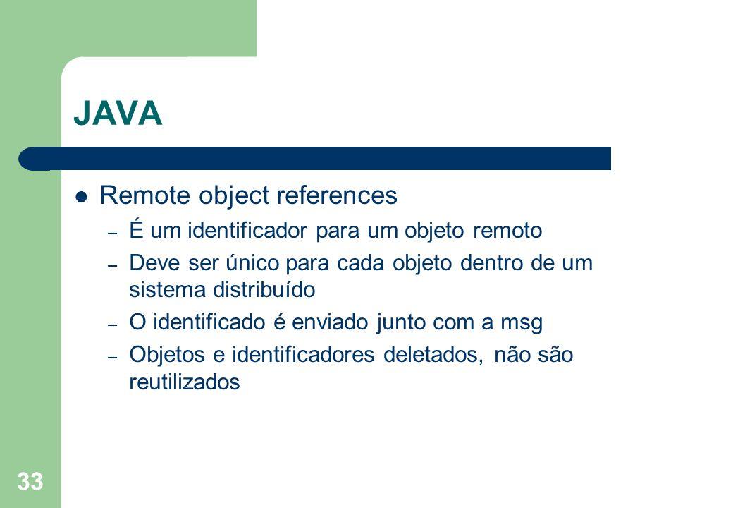 JAVA Remote object references É um identificador para um objeto remoto