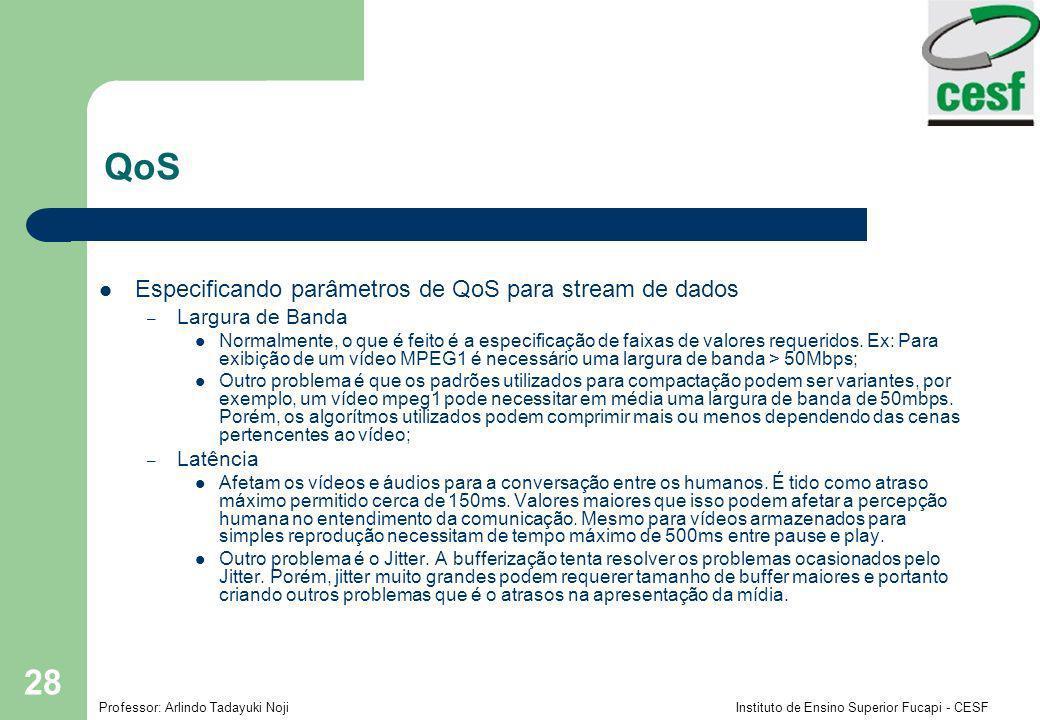 QoS Especificando parâmetros de QoS para stream de dados