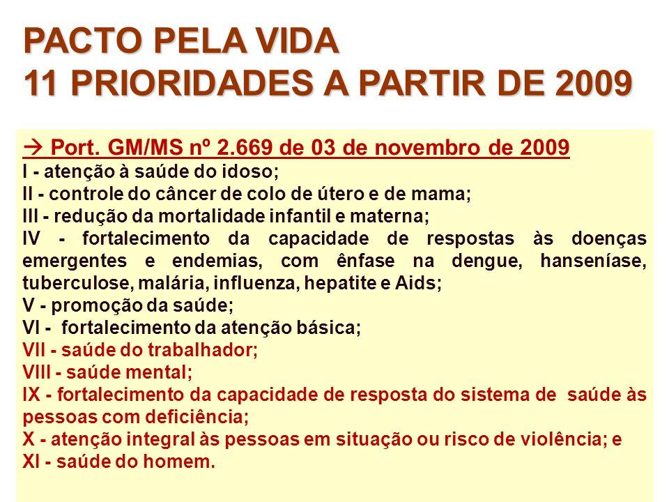 11 PRIORIDADES A PARTIR DE 2009