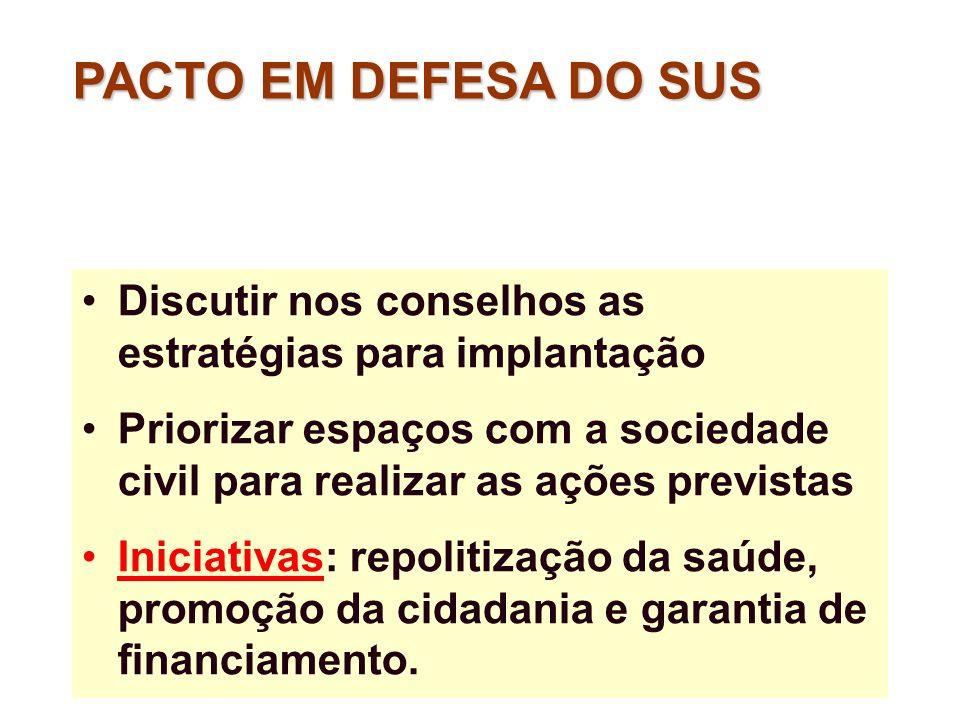 PACTO EM DEFESA DO SUS Discutir nos conselhos as estratégias para implantação.