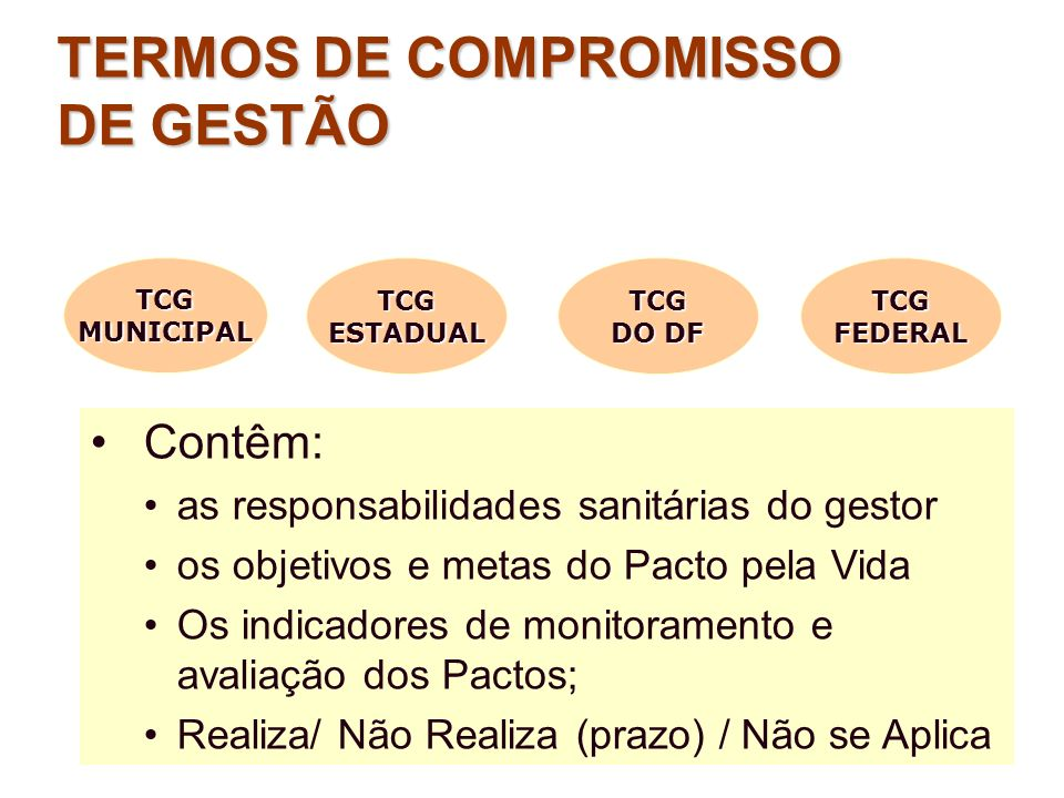TERMOS DE COMPROMISSO DE GESTÃO Contêm: