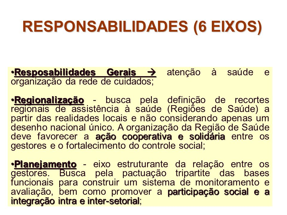 RESPONSABILIDADES (6 EIXOS)