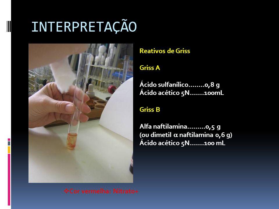 INTERPRETAÇÃO Reativos de Griss Griss A Ácido sulfanílico……..0,8 g