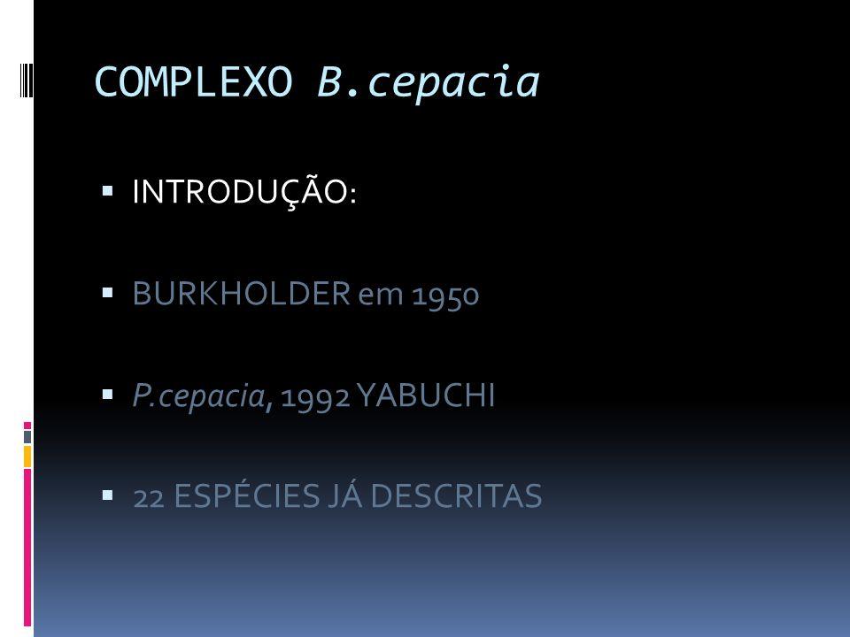 COMPLEXO B.cepacia INTRODUÇÃO: BURKHOLDER em 1950