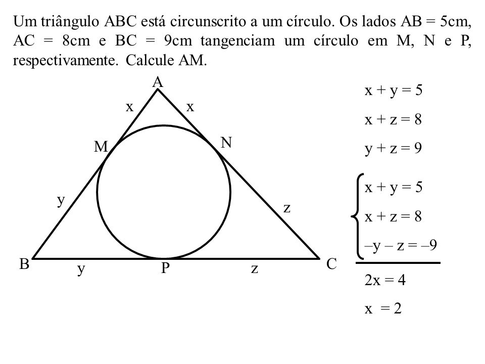 Um triângulo ABC está circunscrito a um círculo