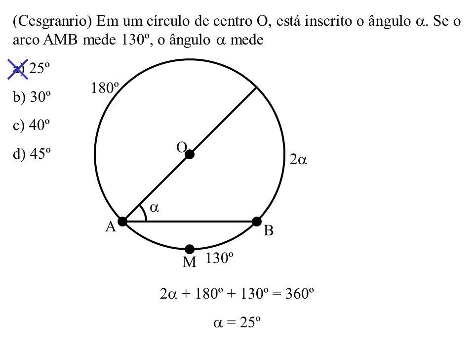(Cesgranrio) Em um círculo de centro O, está inscrito o ângulo 