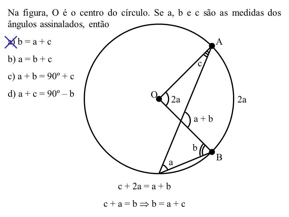 Na figura, O é o centro do círculo