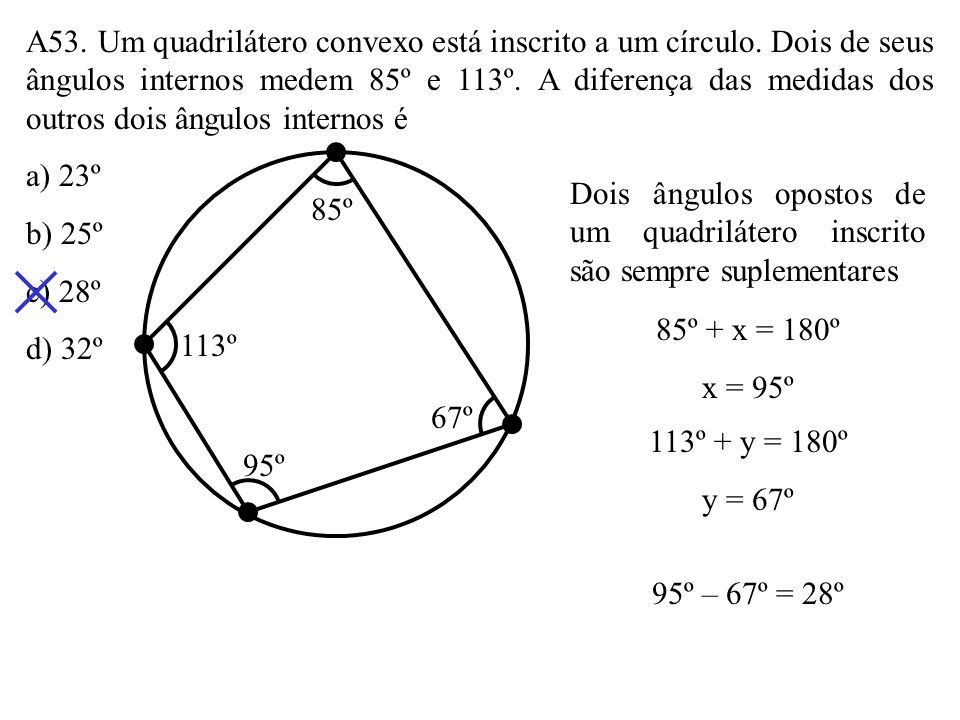 A53. Um quadrilátero convexo está inscrito a um círculo