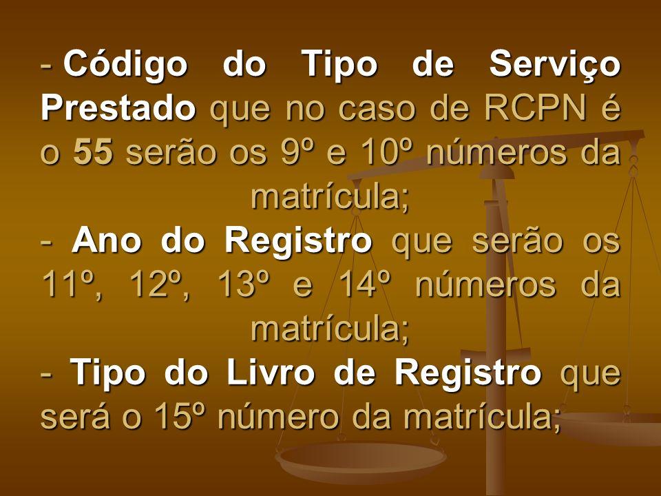 Código do Tipo de Serviço Prestado que no caso de RCPN é o 55 serão os 9º e 10º números da matrícula; - Ano do Registro que serão os 11º, 12º, 13º e 14º números da matrícula; - Tipo do Livro de Registro que será o 15º número da matrícula;