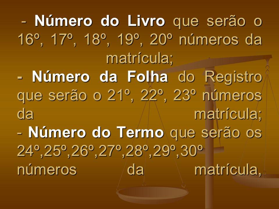 - Número do Livro que serão o 16º, 17º, 18º, 19º, 20º números da matrícula; - Número da Folha do Registro que serão o 21º, 22º, 23º números da matrícula; - Número do Termo que serão os 24º,25º,26º,27º,28º,29º,30º números da matrícula,