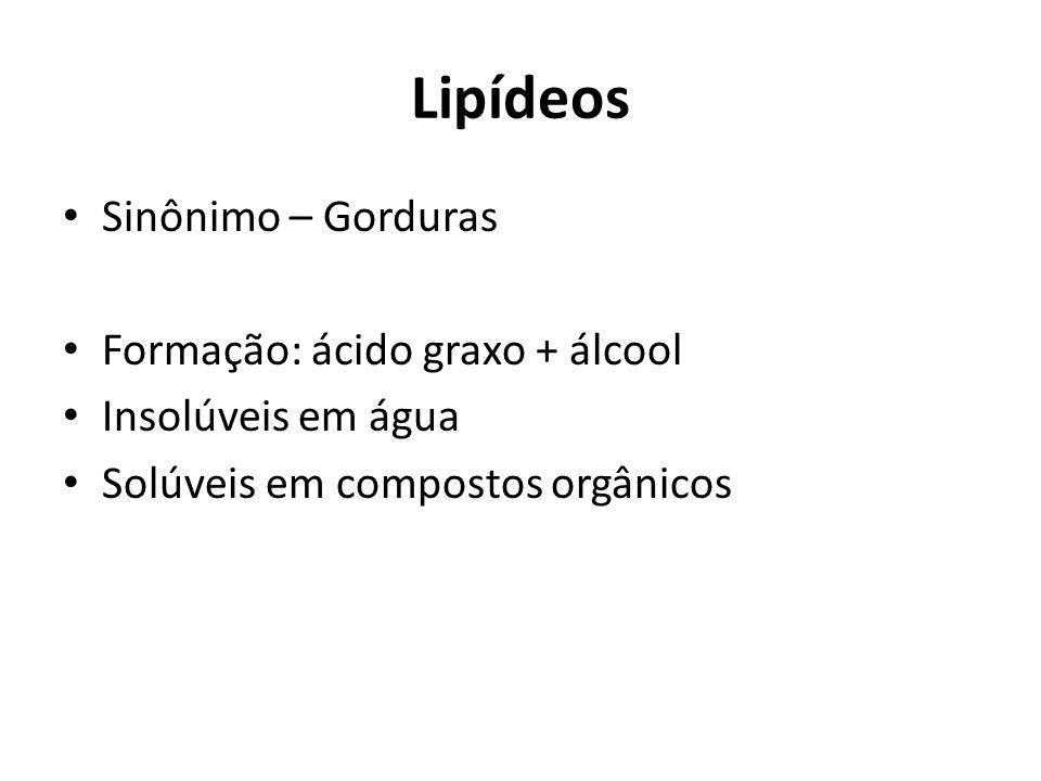 Lipídeos Sinônimo – Gorduras Formação: ácido graxo + álcool