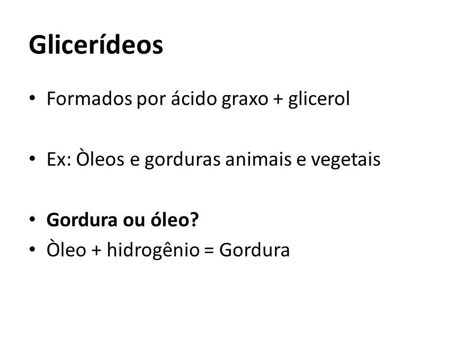 Glicerídeos Formados por ácido graxo + glicerol