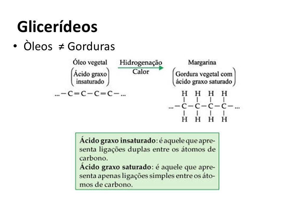 Glicerídeos Òleos ≠ Gorduras