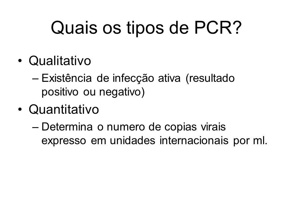 Quais os tipos de PCR Qualitativo Quantitativo