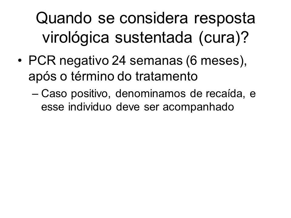 Quando se considera resposta virológica sustentada (cura)