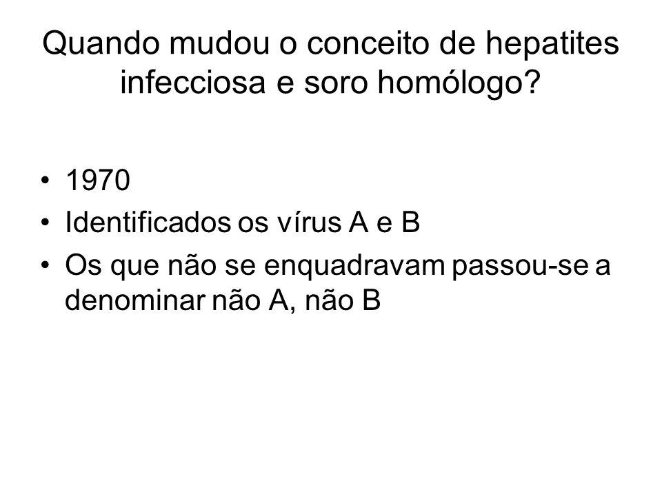 Quando mudou o conceito de hepatites infecciosa e soro homólogo