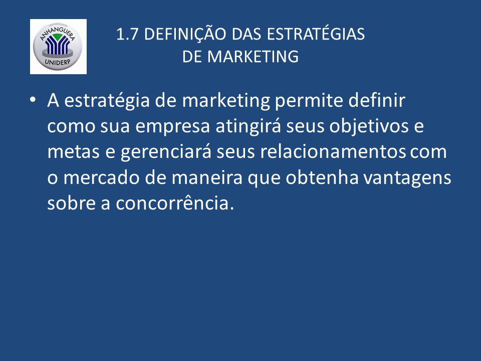 1.7 DEFINIÇÃO DAS ESTRATÉGIAS DE MARKETING