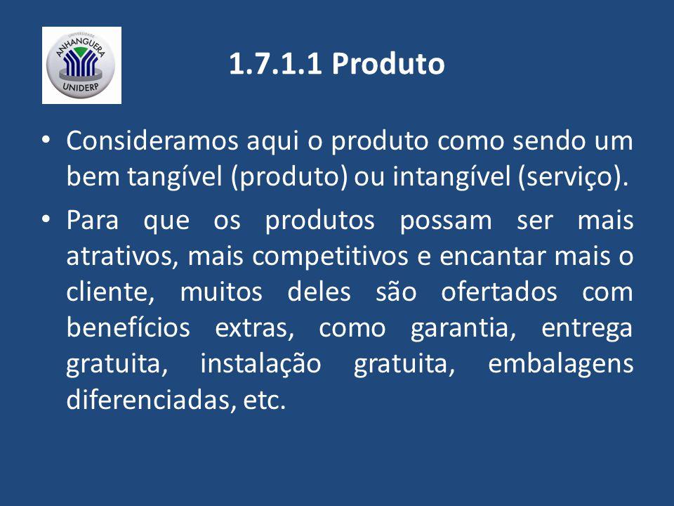 1.7.1.1 Produto Consideramos aqui o produto como sendo um bem tangível (produto) ou intangível (serviço).