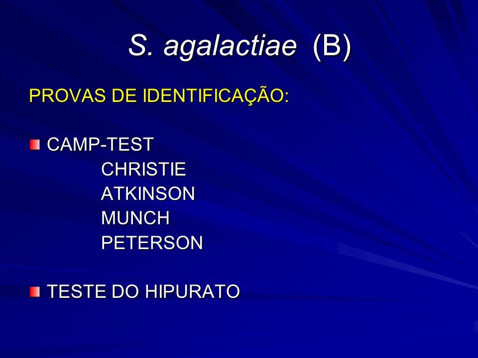 S. agalactiae (B) PROVAS DE IDENTIFICAÇÃO: CAMP-TEST CHRISTIE ATKINSON