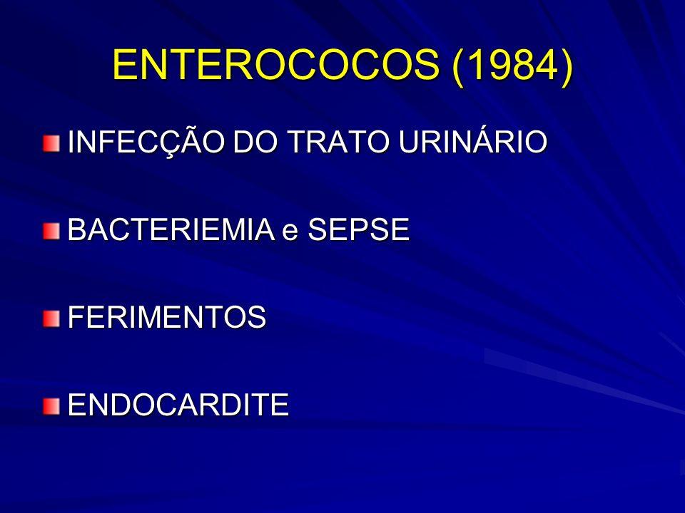 ENTEROCOCOS (1984) INFECÇÃO DO TRATO URINÁRIO BACTERIEMIA e SEPSE