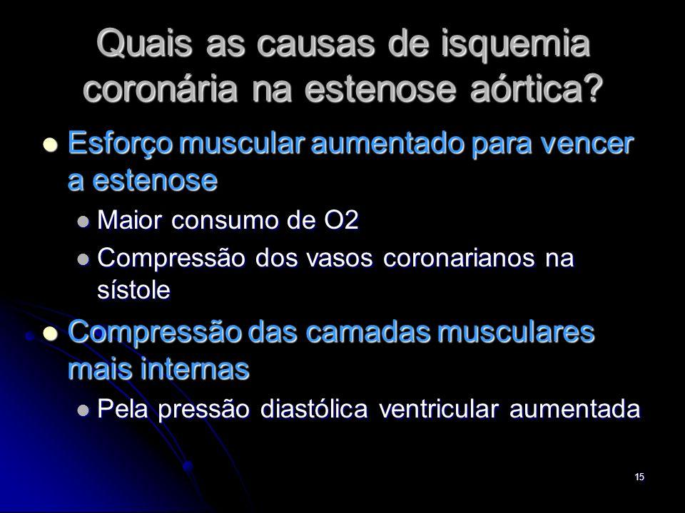 Quais as causas de isquemia coronária na estenose aórtica