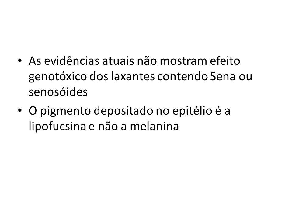 As evidências atuais não mostram efeito genotóxico dos laxantes contendo Sena ou senosóides