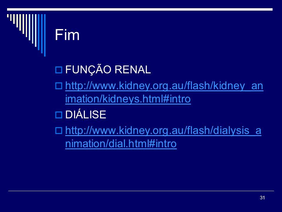Fim FUNÇÃO RENAL. http://www.kidney.org.au/flash/kidney_animation/kidneys.html#intro. DIÁLISE.