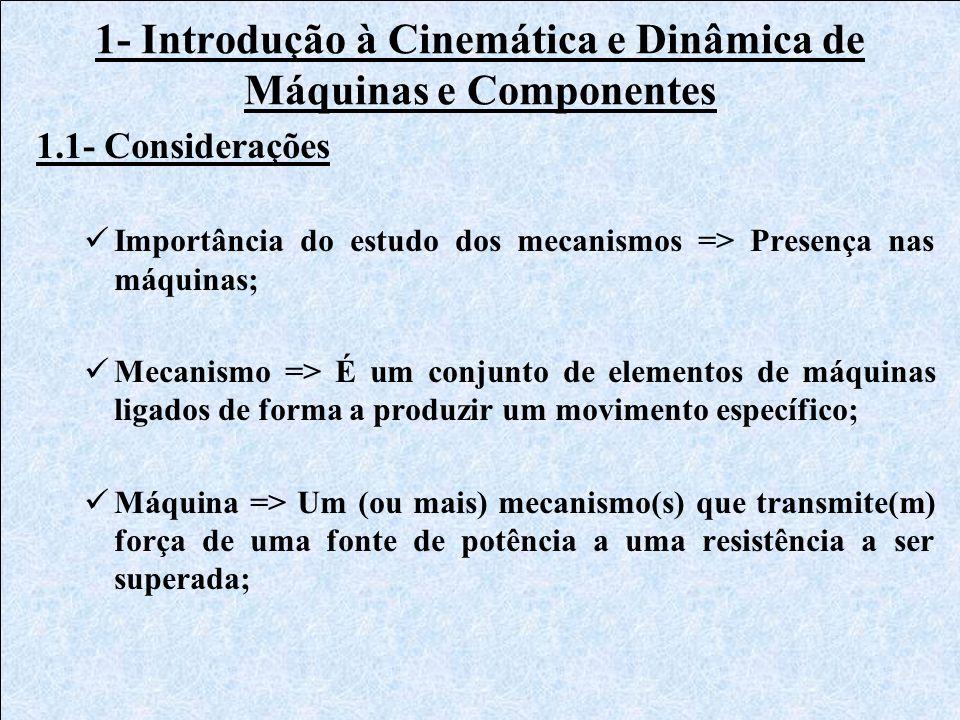 1- Introdução à Cinemática e Dinâmica de Máquinas e Componentes