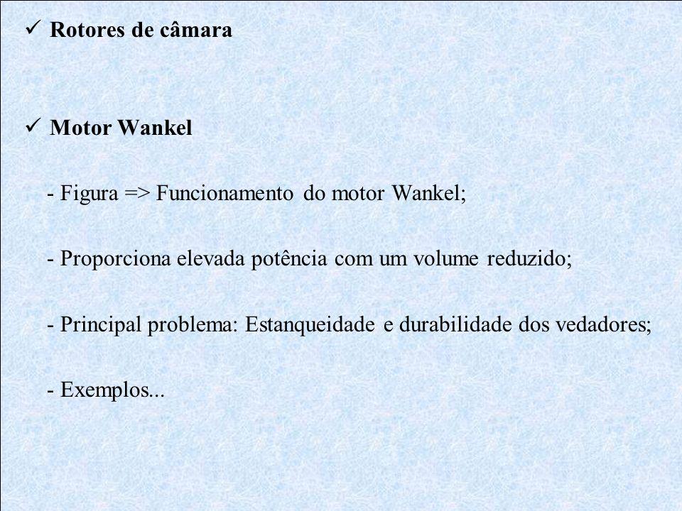 Rotores de câmara Motor Wankel. - Figura => Funcionamento do motor Wankel; - Proporciona elevada potência com um volume reduzido;