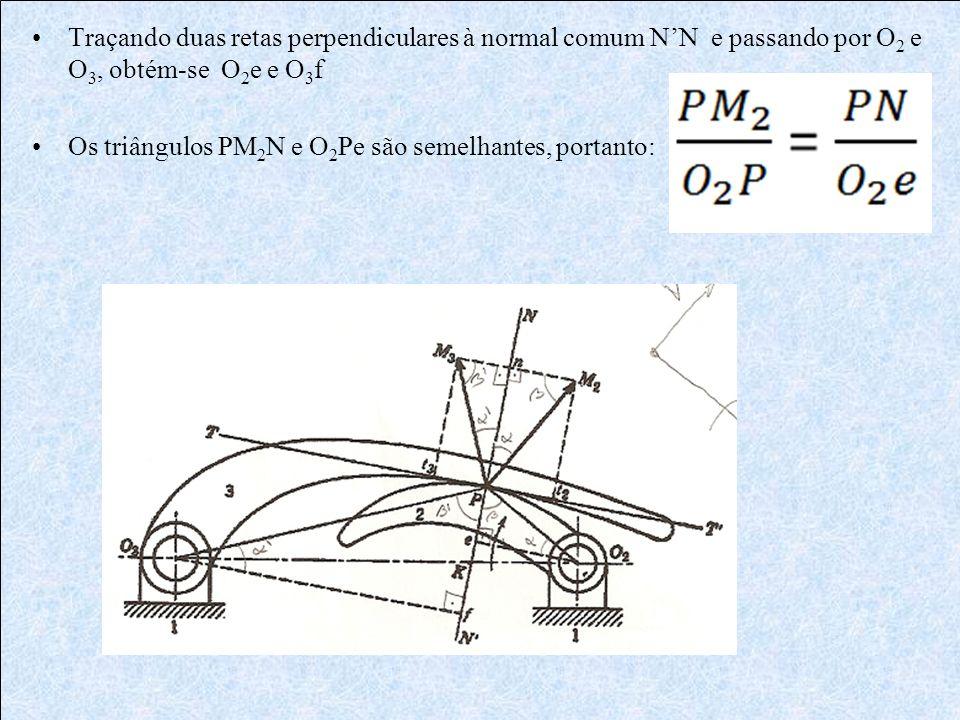 Traçando duas retas perpendiculares à normal comum N'N e passando por O2 e O3, obtém-se O2e e O3f