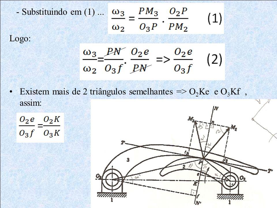 - Substituindo em (1) ... Logo: Existem mais de 2 triângulos semelhantes => O2Ke e O3Kf , assim: