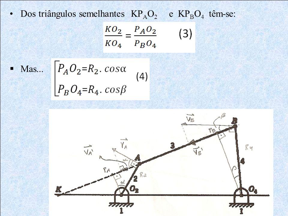 Dos triângulos semelhantes KPAO2 e KPBO4 têm-se: