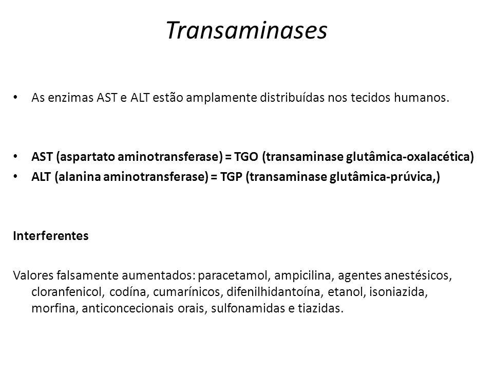 Transaminases As enzimas AST e ALT estão amplamente distribuídas nos tecidos humanos.