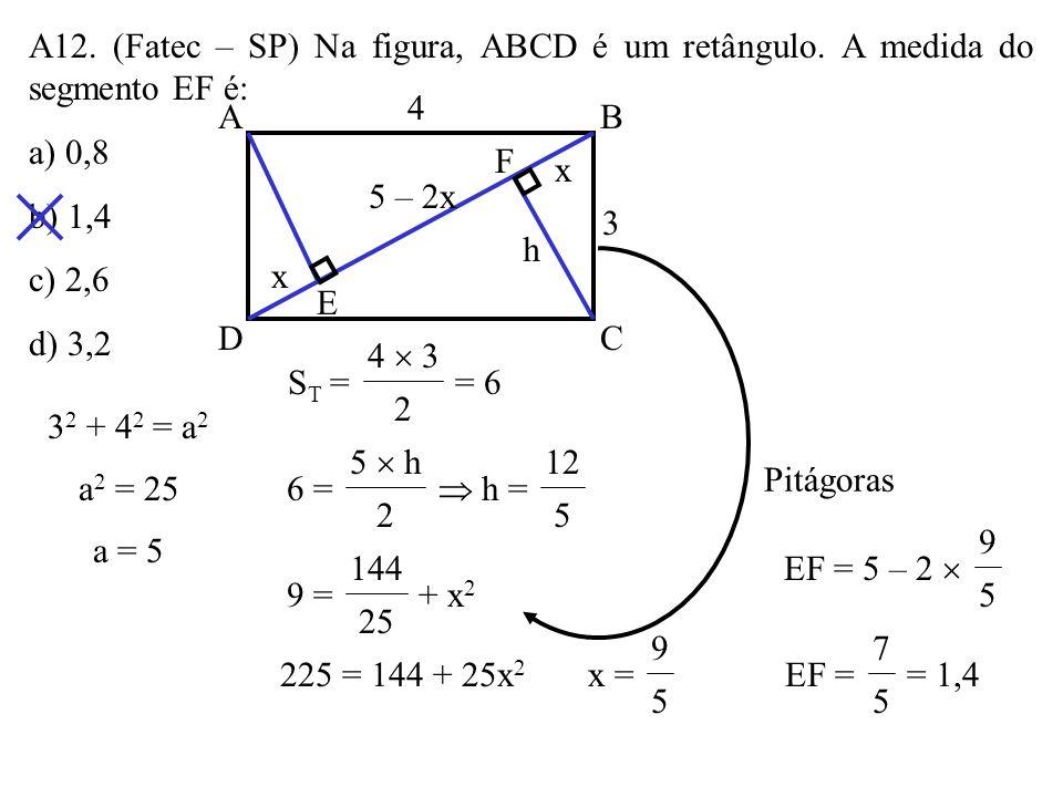 A12. (Fatec – SP) Na figura, ABCD é um retângulo