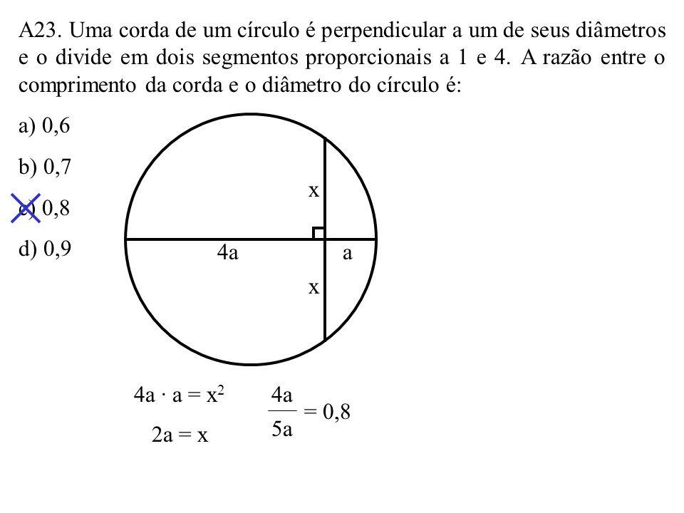 A23. Uma corda de um círculo é perpendicular a um de seus diâmetros e o divide em dois segmentos proporcionais a 1 e 4. A razão entre o comprimento da corda e o diâmetro do círculo é:
