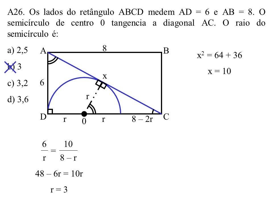A26. Os lados do retângulo ABCD medem AD = 6 e AB = 8