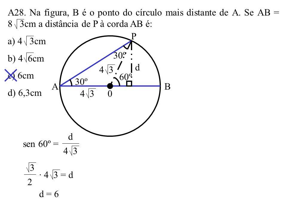 A28. Na figura, B é o ponto do círculo mais distante de A