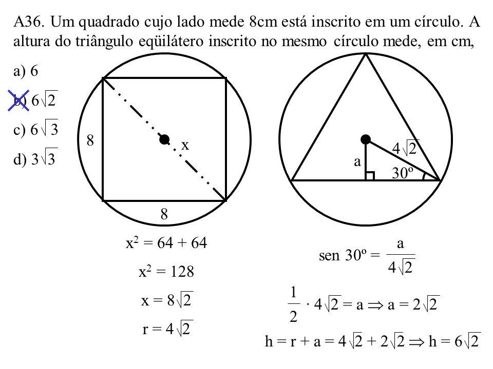 A36. Um quadrado cujo lado mede 8cm está inscrito em um círculo