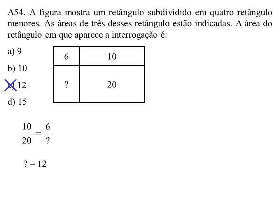 A54. A figura mostra um retângulo subdividido em quatro retângulo menores. As áreas de três desses retângulo estão indicadas. A área do retângulo em que aparece a interrogação é: