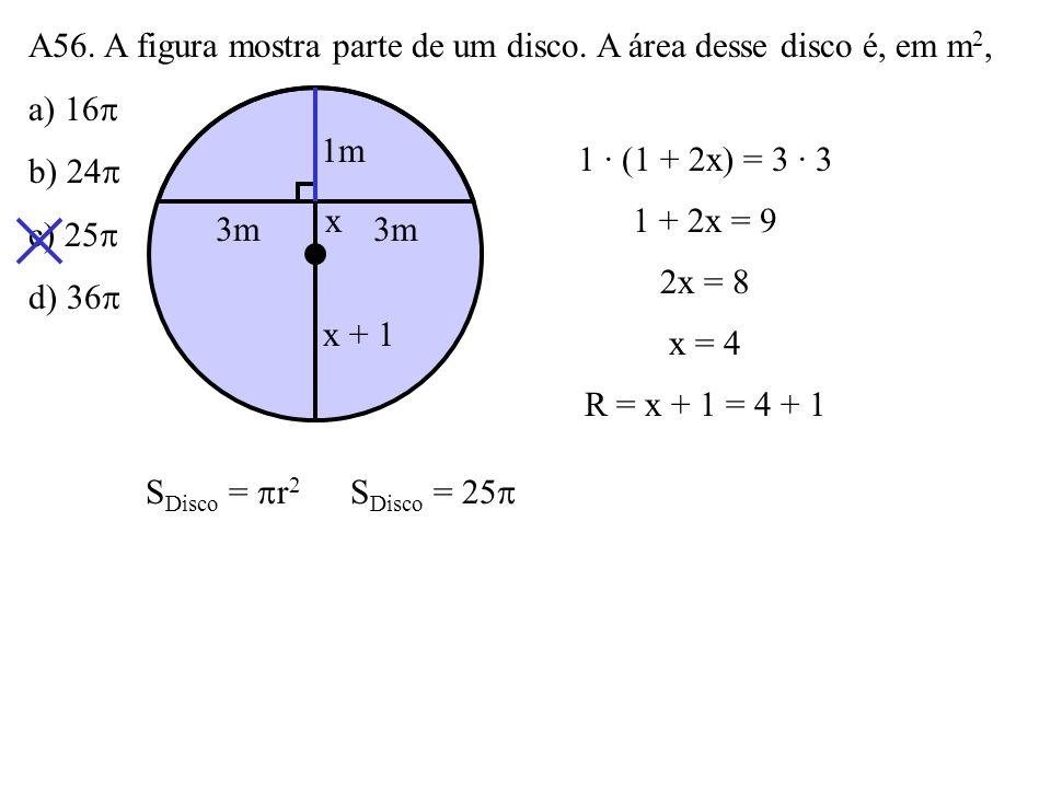 A56. A figura mostra parte de um disco. A área desse disco é, em m2,