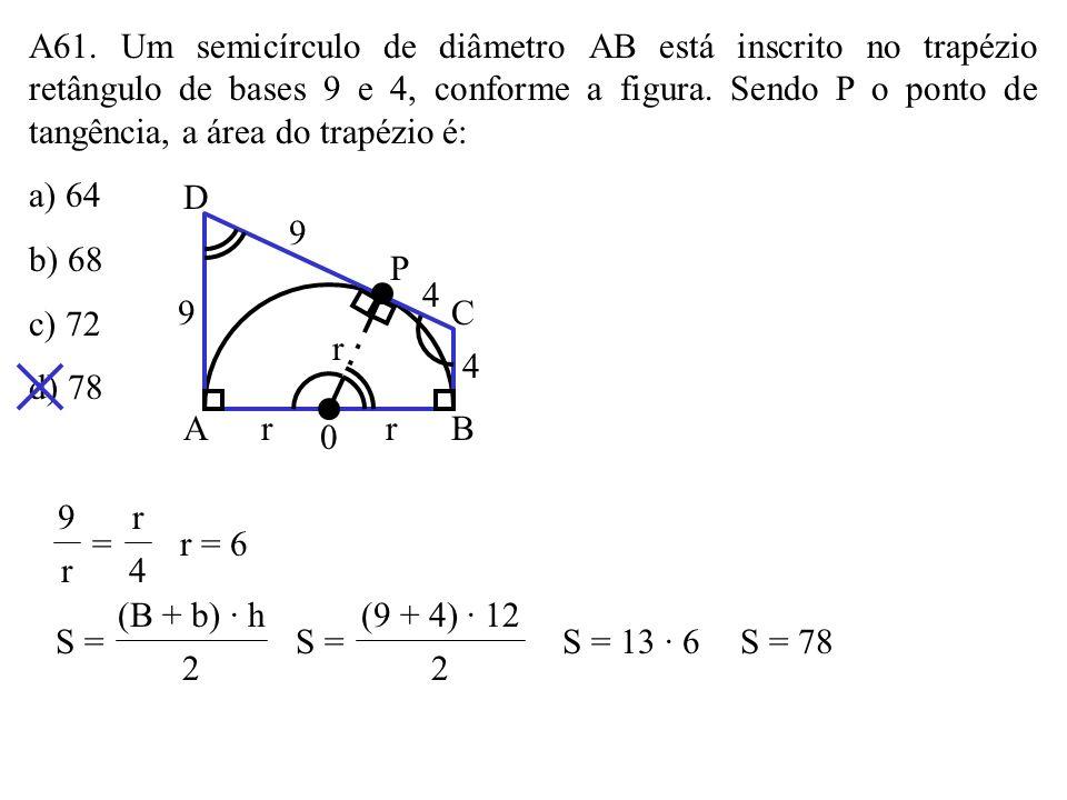 A61. Um semicírculo de diâmetro AB está inscrito no trapézio retângulo de bases 9 e 4, conforme a figura. Sendo P o ponto de tangência, a área do trapézio é: