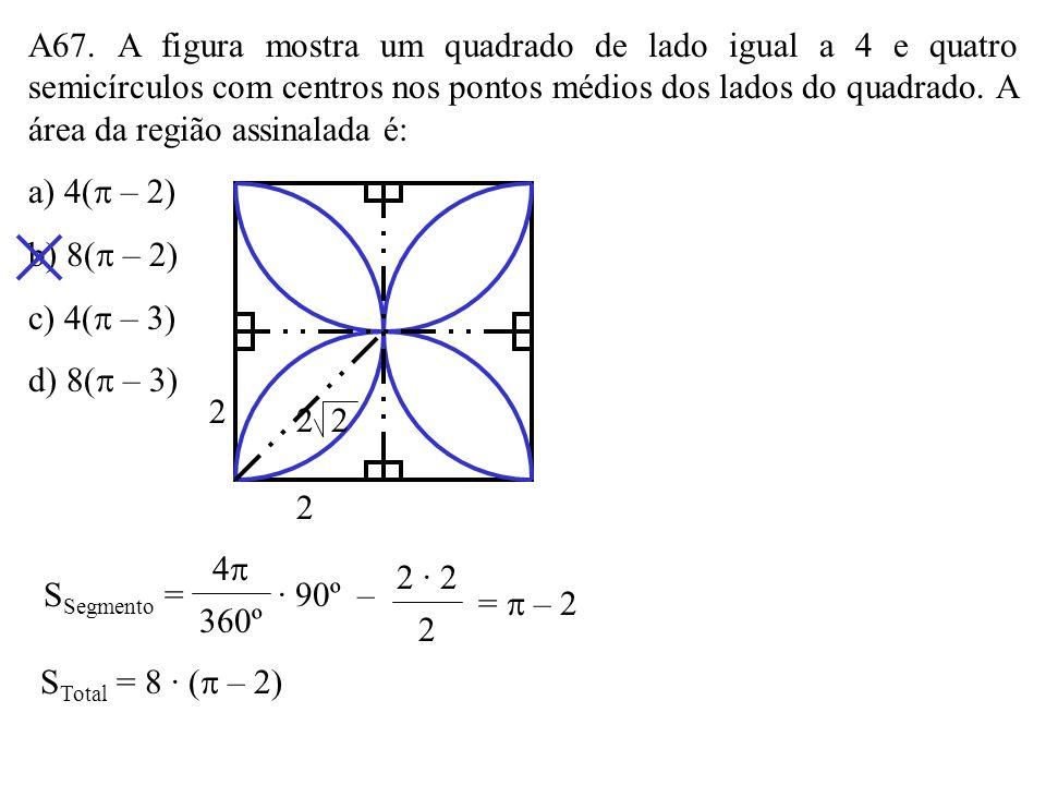 A67. A figura mostra um quadrado de lado igual a 4 e quatro semicírculos com centros nos pontos médios dos lados do quadrado. A área da região assinalada é:
