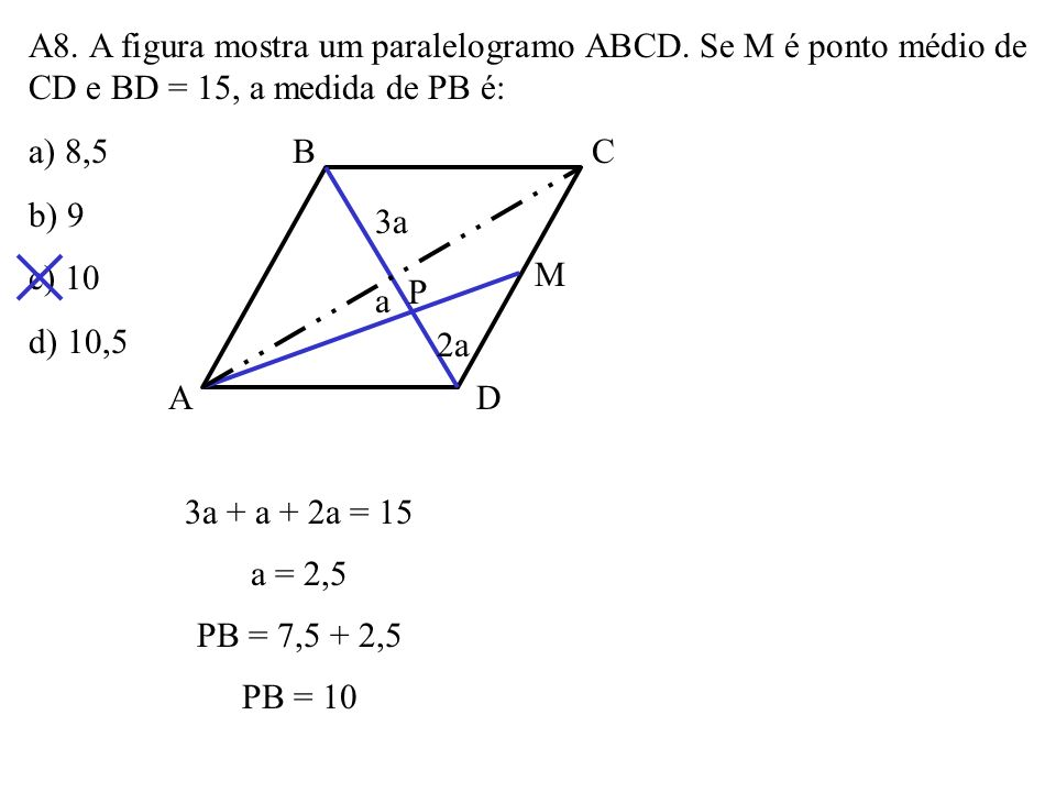 A8. A figura mostra um paralelogramo ABCD