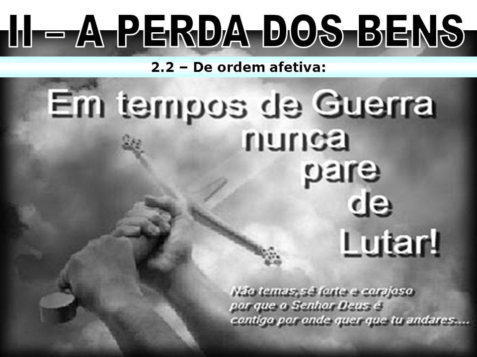 II – A PERDA DOS BENS 2.2 – De ordem afetiva: 10