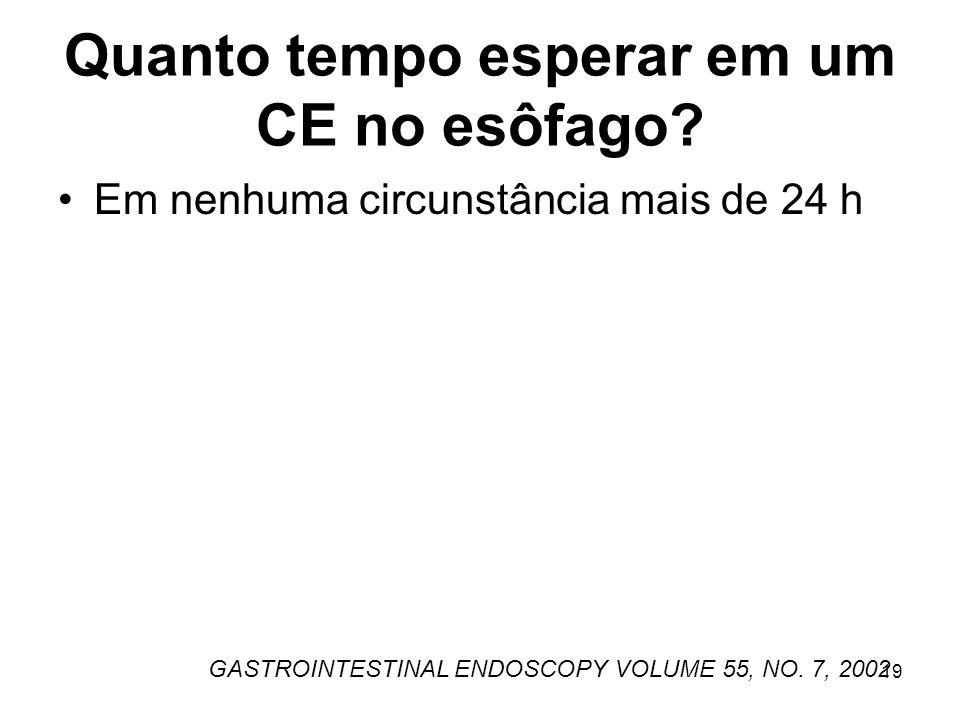 Quanto tempo esperar em um CE no esôfago