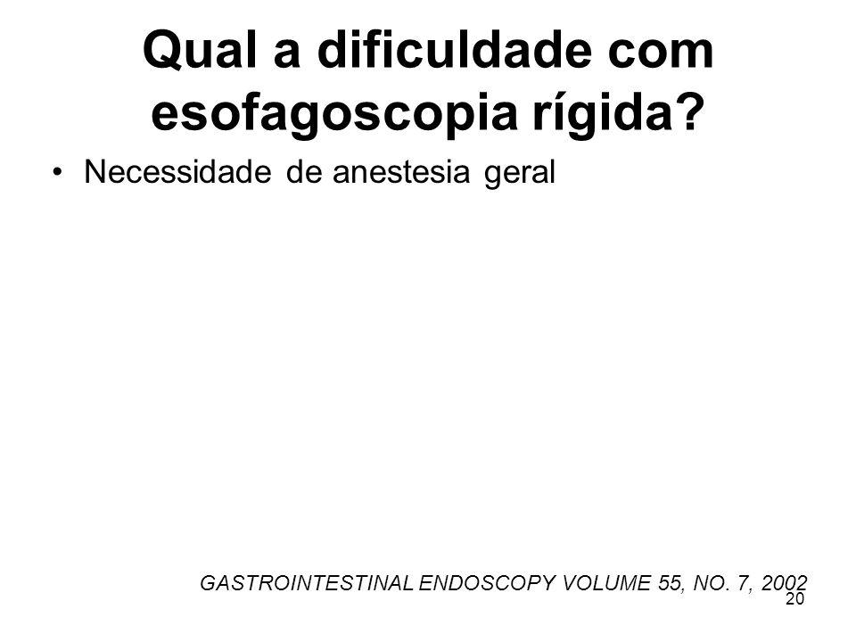 Qual a dificuldade com esofagoscopia rígida
