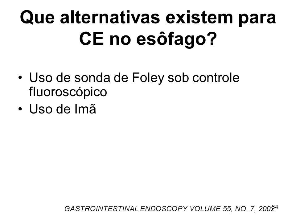 Que alternativas existem para CE no esôfago